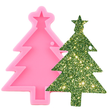 Shiny Christmas Tree Keychains Mold Silicone Molds DIY Jewelry Making Epoxy Resin Moulds Keychain Pendant Polymer Clay Mould