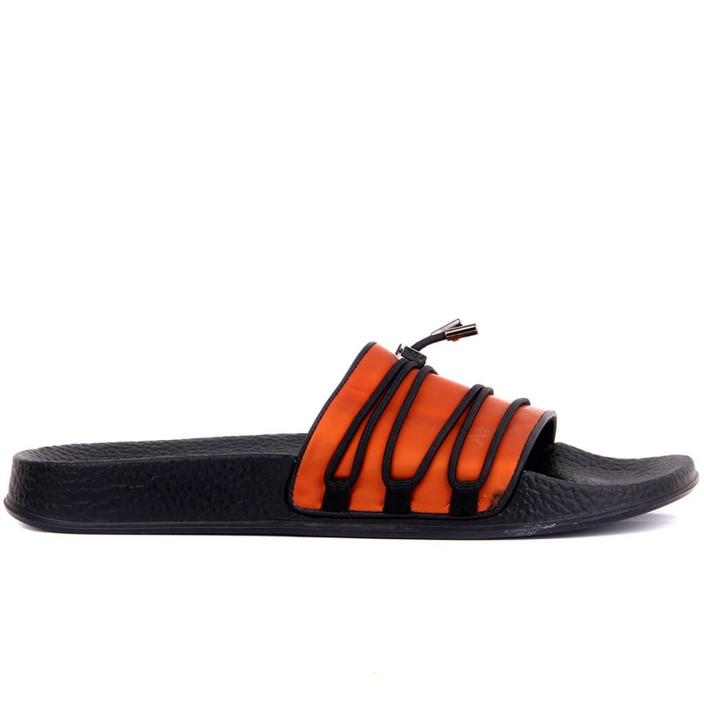 Custom Production-Orange Leather Male Outdoor Slipper