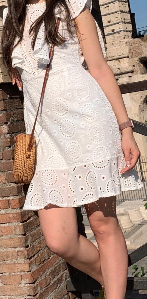 Affogatoo Cotton Embroidery White Dress Women High Waist A Line Summer Dress Backless Ruffle Sleeve Casual Dress Vestidos photo review