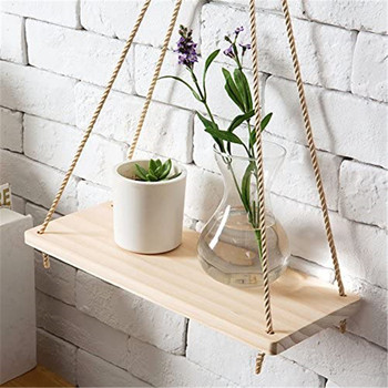 Premium Wood Swing Hanging Rope Wall Mounted Floating Exquisite Shelves Plant Flower Pot Indoor Outdoor Decoration Simple Design 1