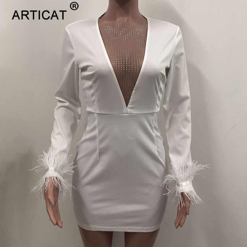 Articat セクシーなディープ v ネックメッシュボディコンドレスレディースロングスリーブボディコンスパンコールクリスマスドレスファッション冬のパーティードレス vestidos