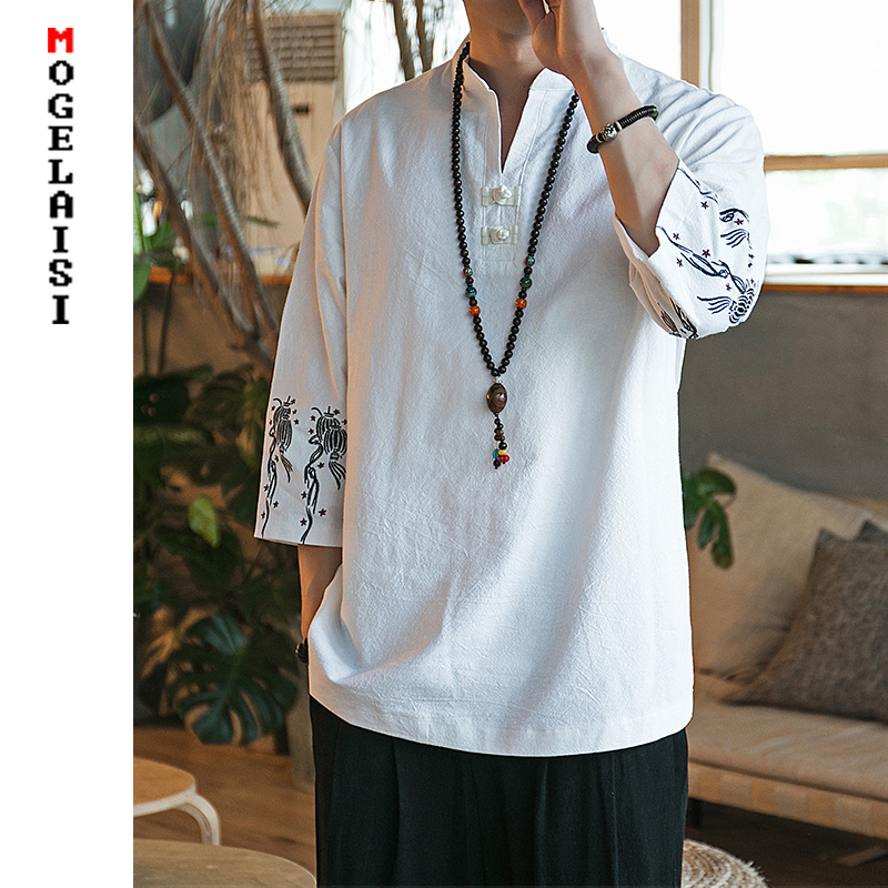 YYG Mens Embroidery Chinese Style V-Neck Cotton Linen Pockets T-Shirt Tee
