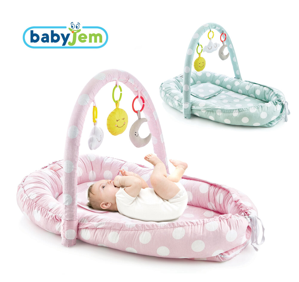 Babyjem or Baby Bed with Toys, Pink Color,For Newborns and Babies, Cotton-Padded Edge Protectors