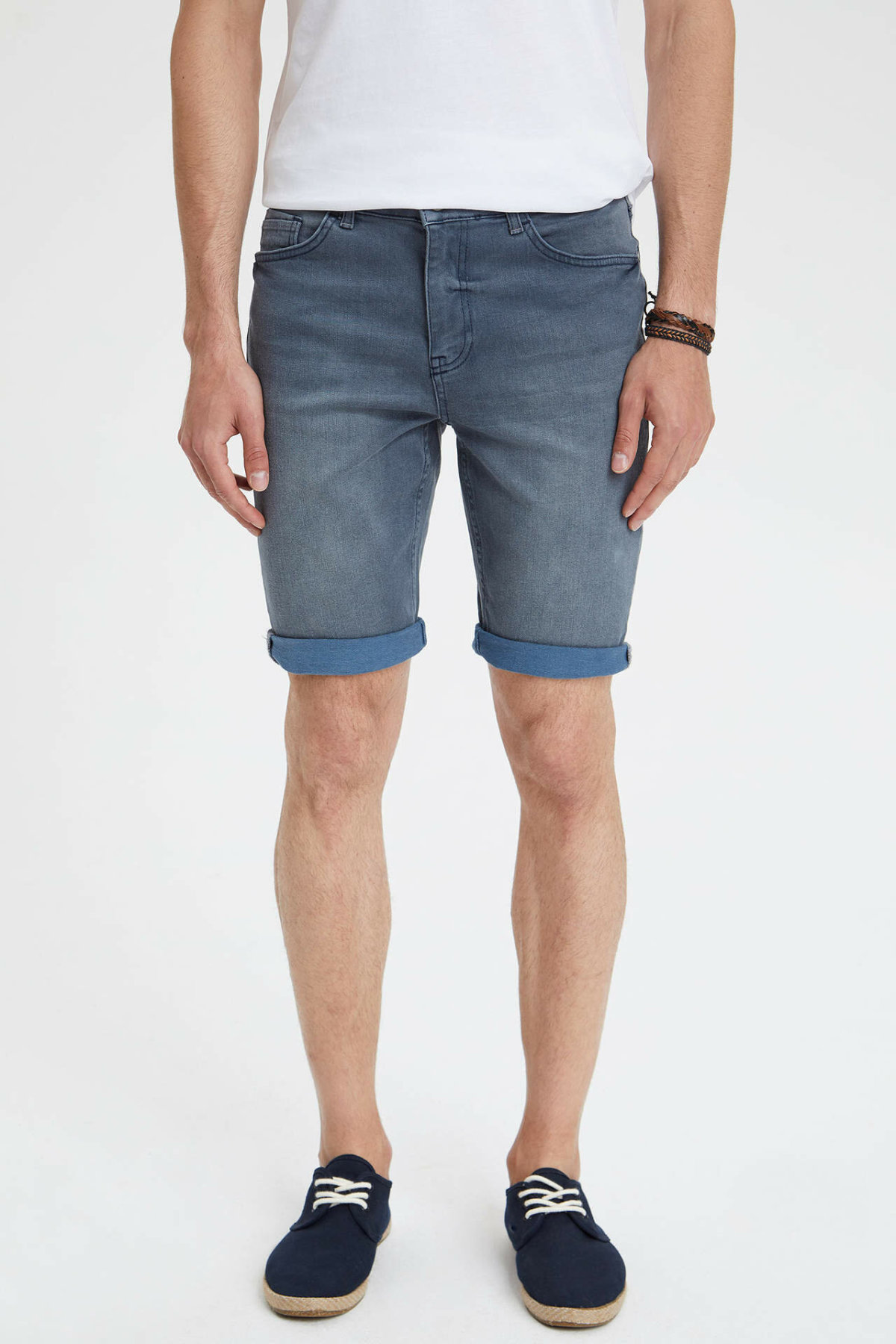 DeFacto Man Summer Denim Shorts Men Casual Fit Slim Blue Denim Jeans Male Bermuda Mid-waist Shorts-L0192AZ19SM