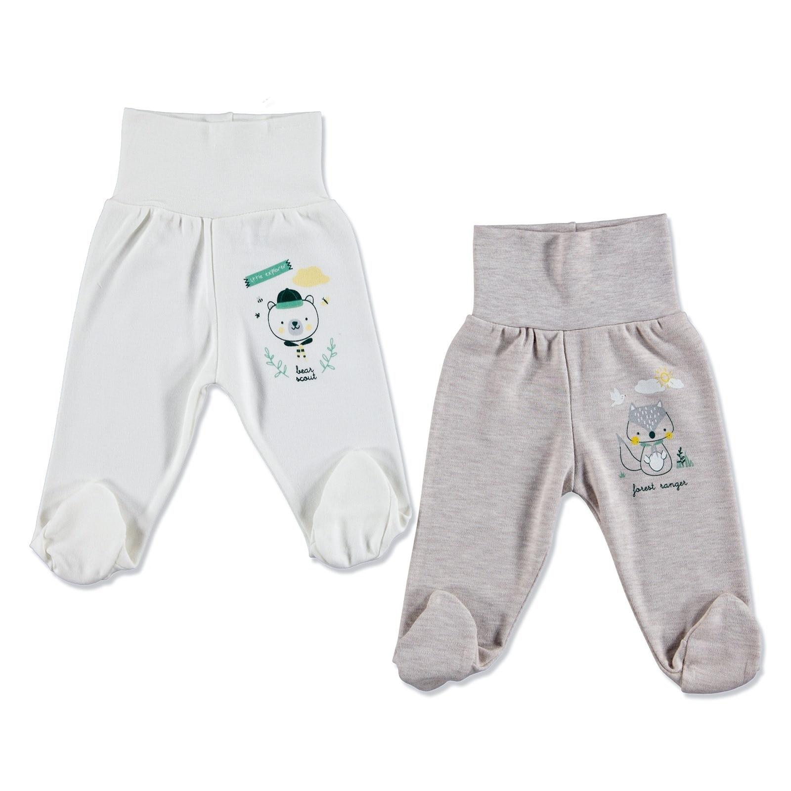 Ebebek HelloBaby Baby Boy Comfort Waist Footed Pant 2 Pcs