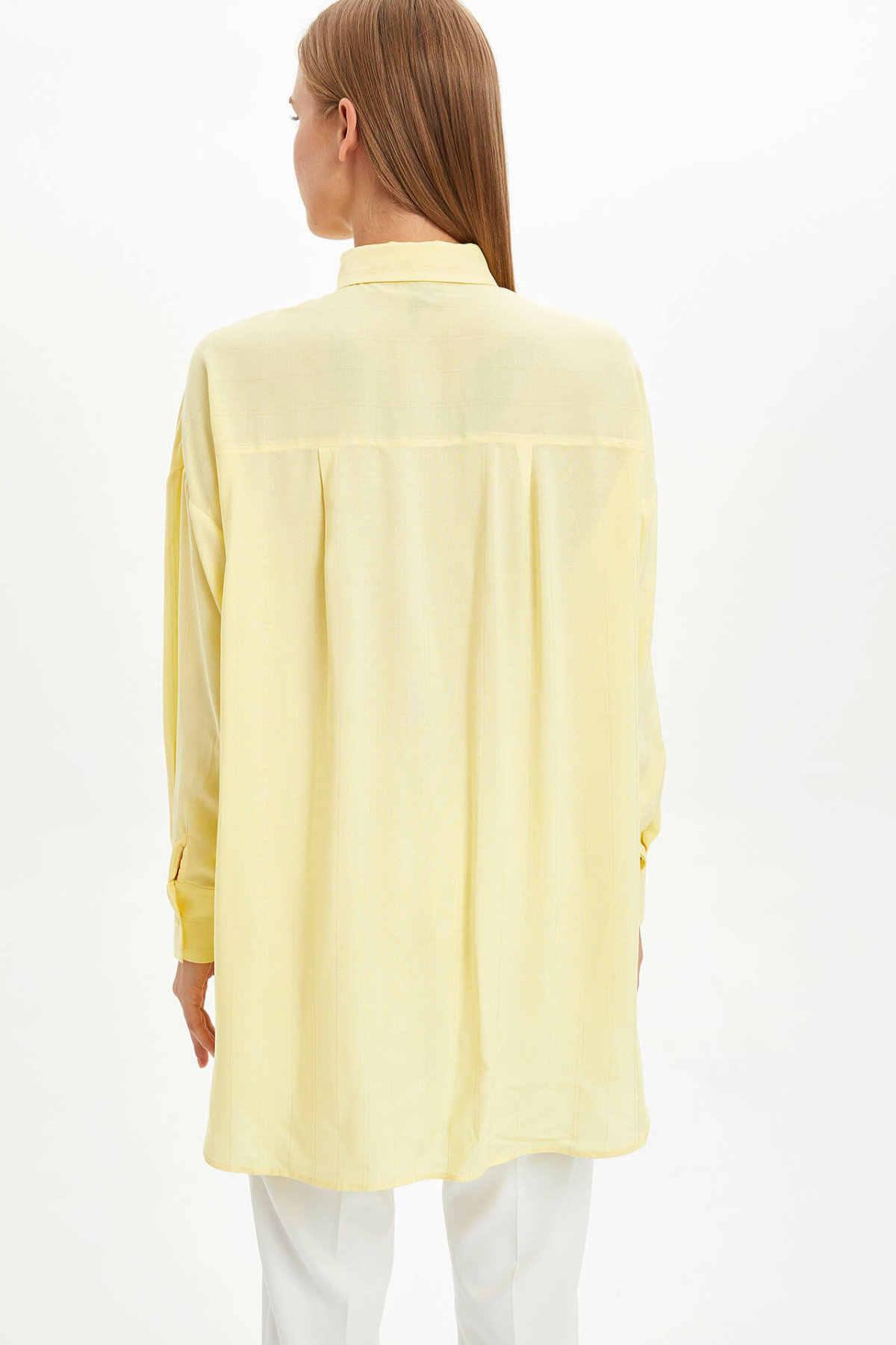 DeFacto פשוט גבירותיי אופנה חולצה נשי אלגנטי באיכות גבוהה ארוך נשים Loose צהוב חולצות אביב-L7320AZ19HS