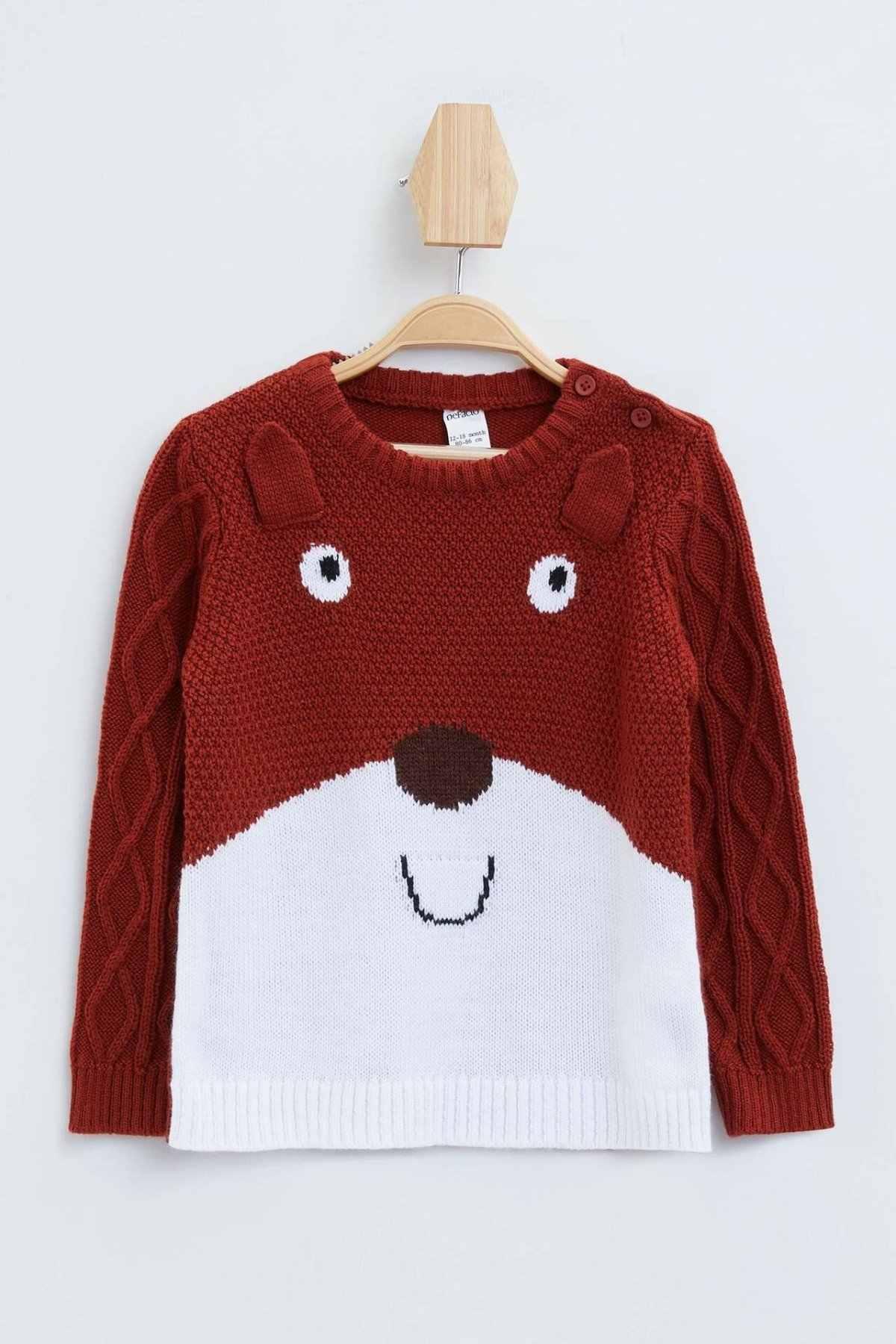 DeFacto BabyBoy 귀여운 동물 스웨터 소년 캐주얼 니트 탑 스웨터 키즈 러블리 베어 이미지 풀오버 봄-L3111A219AU