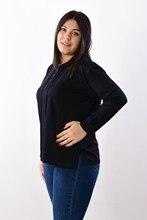 Women's Large Size Collar Button Black Blouse 7001