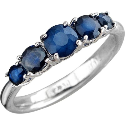 Esthete Ring With 5 Sapphires Of Silver