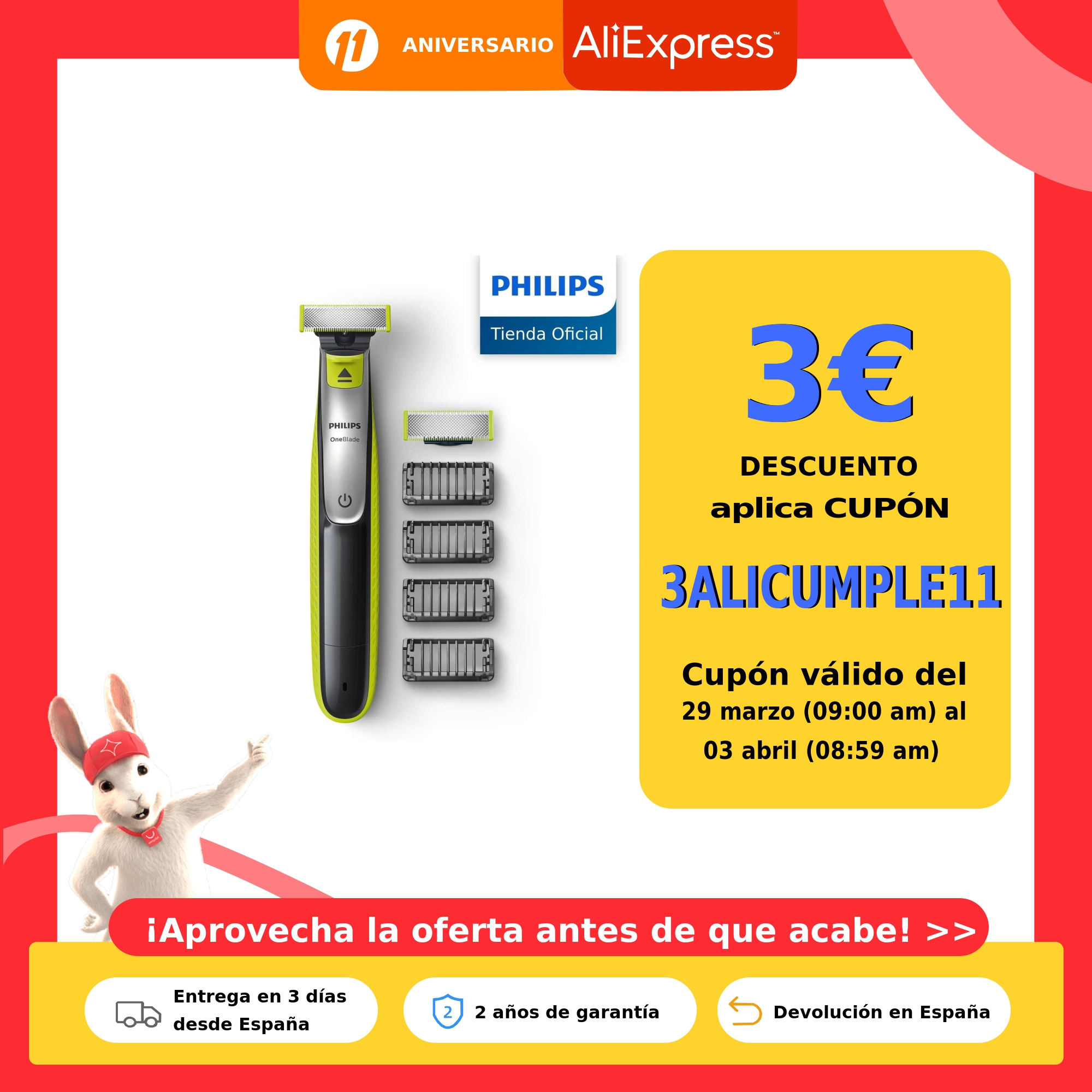 Philips, OneBlade, QP2520/65, Recortador de Barba con 3 Peines de 1,3 y 5 mm Longitudes, Incluye funda de viaje, Recargable Maquinillas de afeitar eléctricas  - AliExpress