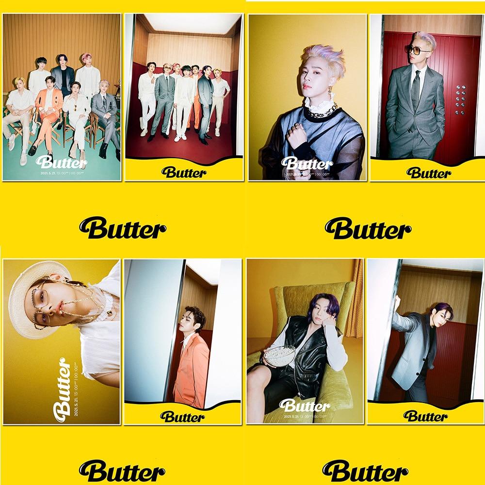 2PCS KPOP Bangtan Boys Butter Poster Sticker Wall Desk Stickers JIMIN JIN SUGA J-HOPE Fans Collection