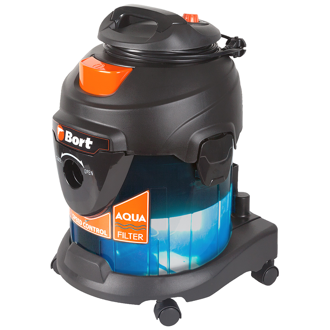 Vacuum cleaner with aquafilter Bort BSS-1415-Aqua (dry and wet cleaning, power 1400 W)