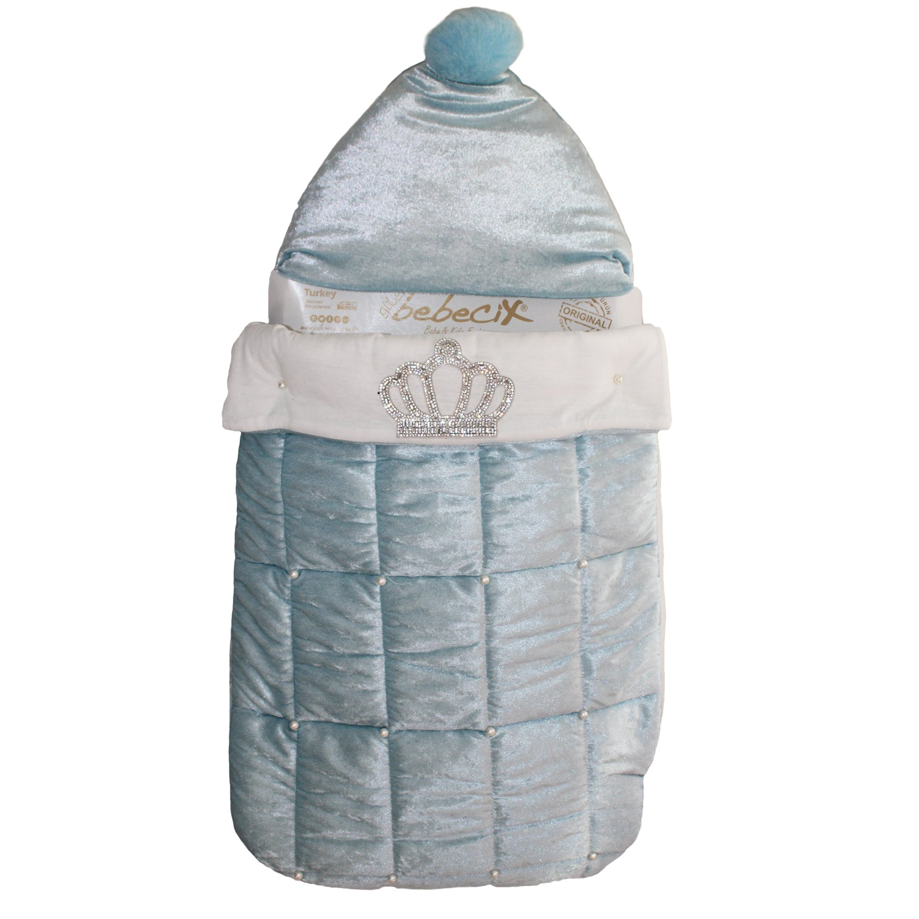 Blue Crowned With Pearl Male Baby Swaddle
