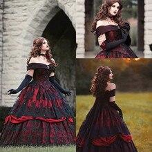 고딕 벨 레드 블랙 레이스 웨딩 드레스 빈티지 레이스 업 코르셋 strapless 계층화 된 아름다움 오프 어깨 플러스 크기 신부 가운