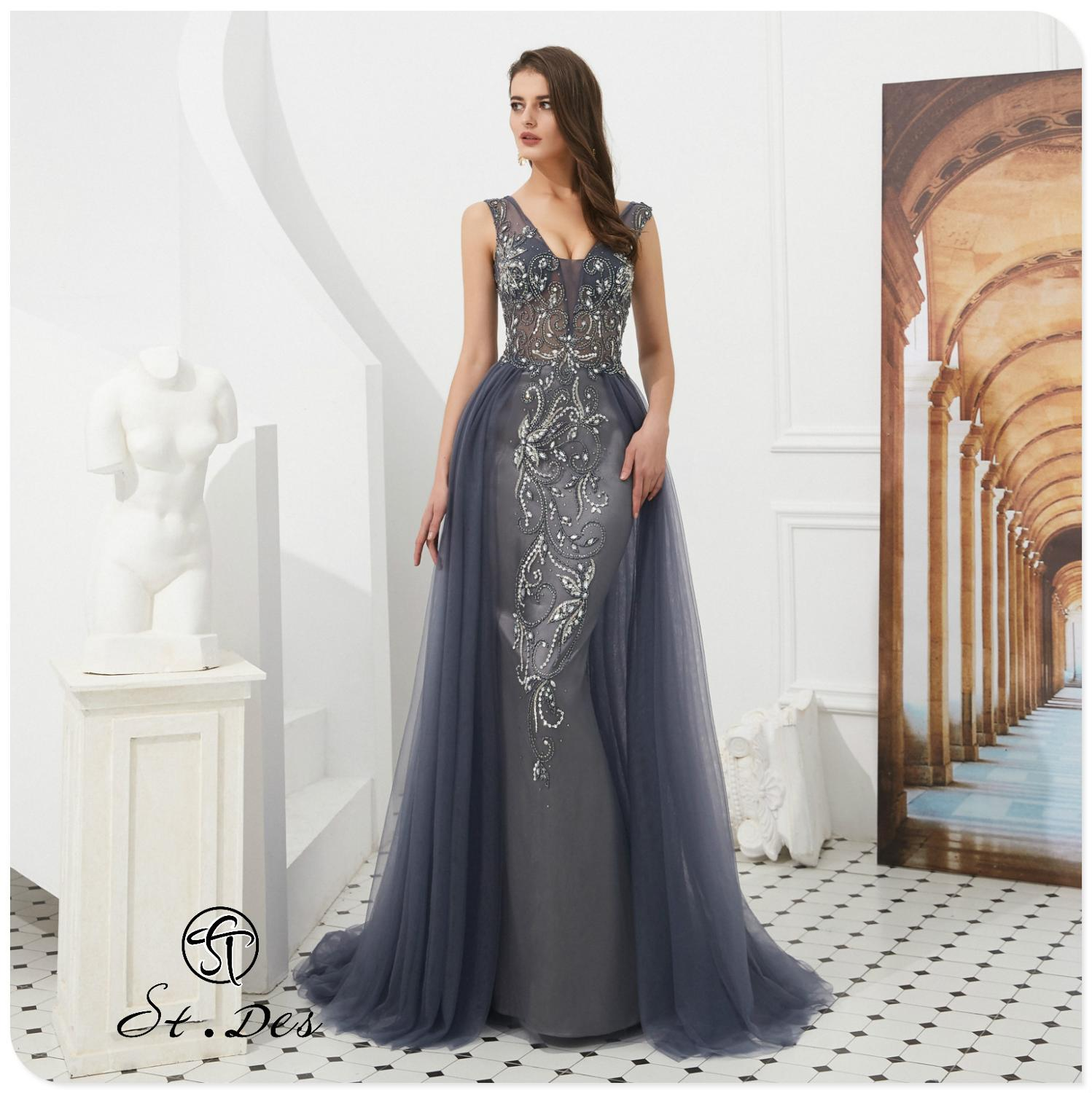 NEW 2020 St.Des A-line Russian V-Neck Gray Wine Diamond Sequins Mid-sleeve Designer Floor Length Evening Dress Party Dress