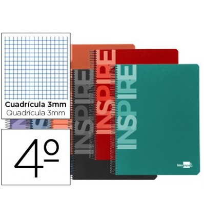 SPIRAL NOTEBOOK LEADERPAPER ROOM INSPIRE HARDCOVER 80H 60 GR TABLE 3MM CONMARGEN ASSORTED COLORS 10 Pcs