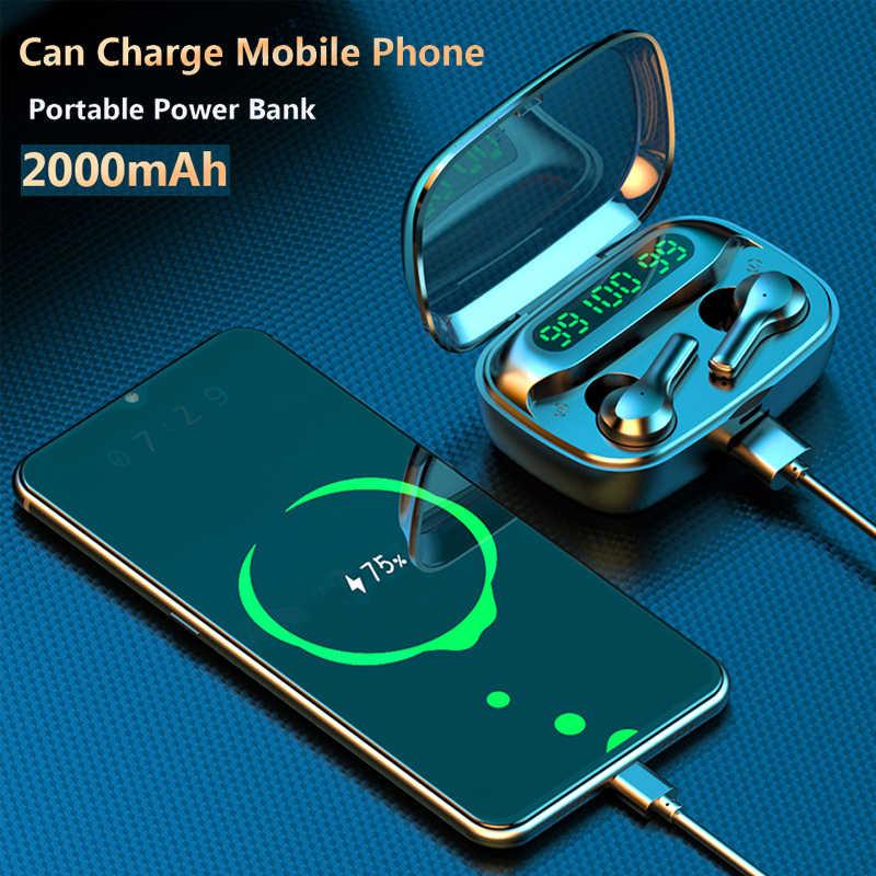 Smart Touch Bluetooth V5.0 Earphone Wireless Headphone dengan Mikrofon Olahraga Tahan Air Hi Fi Stereo Kebisingan Membatalkan Headset