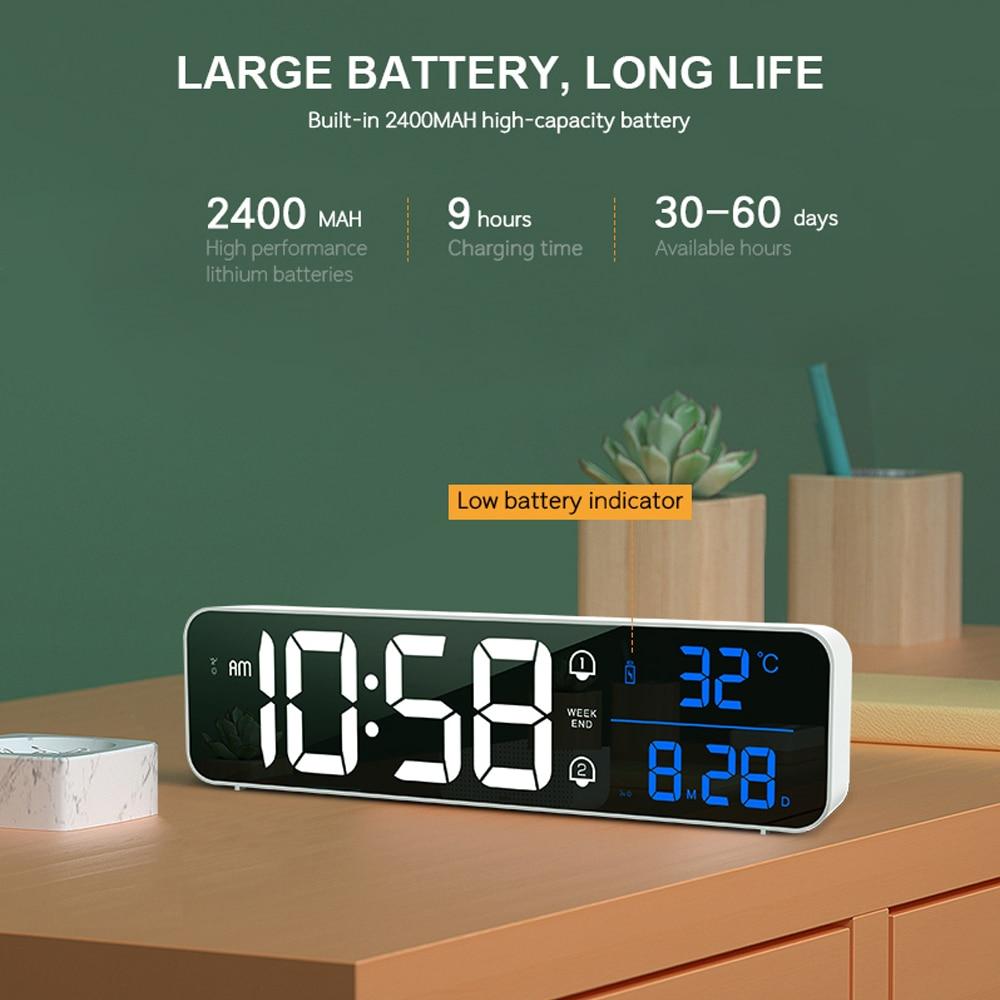 Music LED Digital Alarm Clock Temperature Date Display Desktop Mirror Clocks Home Table Decoration Electronic Clock 2000 mAh 3