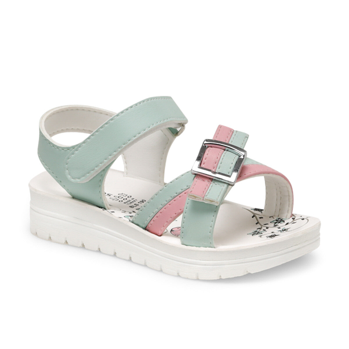 FLO Girls Sandals Gladiator Solid Color Sweet Soft Children's Beach Shoes Kids Summer Sandals Princess Fashion Cute High Quality BLS190 Turquoise