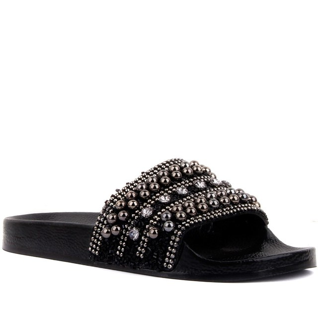 Moxee-Beaded, Embroidered Women's Flat Slip On Beach Shoes