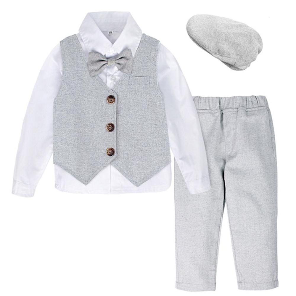 Meninos roupa de aniversário do casamento do bebê batismo terno da criança cavalheiro festa roupas crianças manga longa com laço 3 pçs