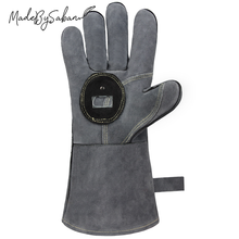 Heat Resistant BBQ Grill Gloves Microwave Oven Fire Retardant Anti Scalding Leather Gloves with Bottle Opener