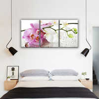 Orchid with drops flowers, branch orchid. Modular painting on canvas 3 module, triptych. The Picture in the bedroom, hall, living room, kitchen