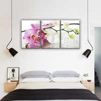 Orchidee mit tropfen blumen, zweig orchidee. Modulare malerei auf leinwand 3 modul, triptychon. Die Bild in die schlafzimmer, halle, wohnzimmer, küche