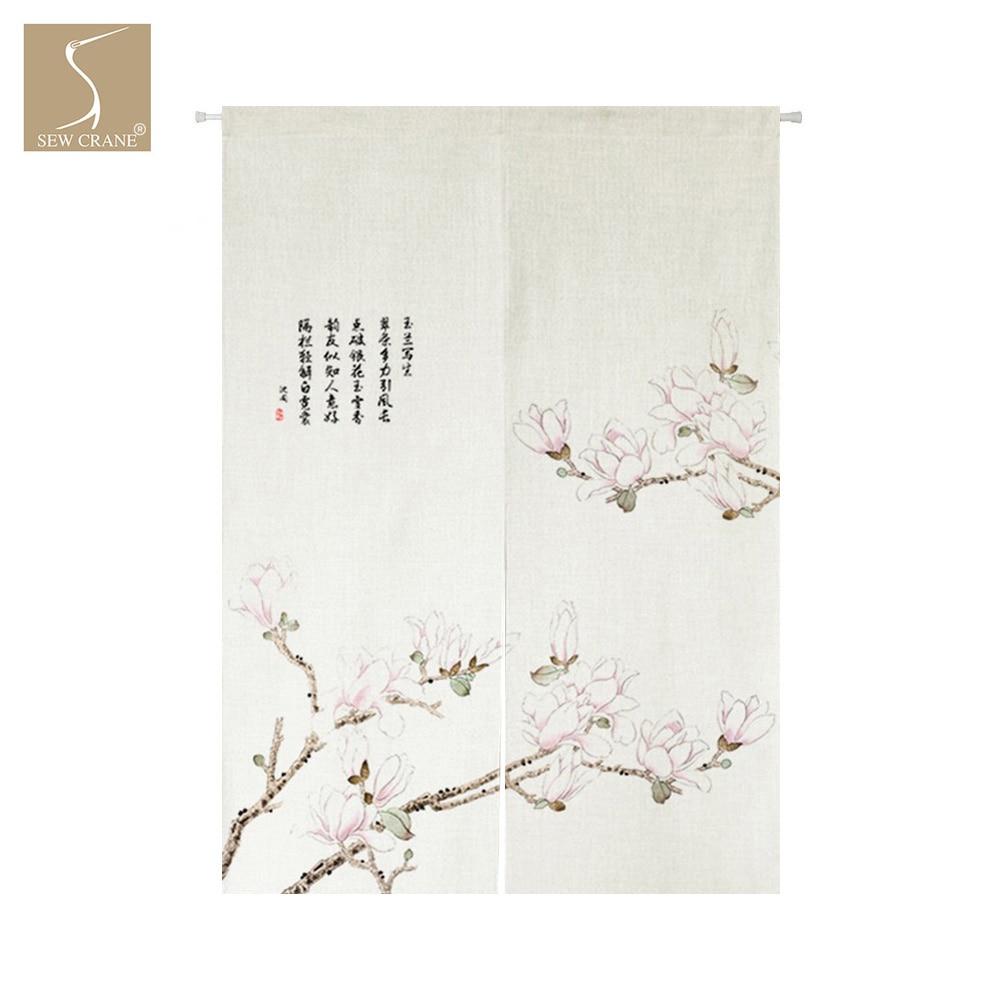 Spring Flowering Tree Blossoming Pink Orchid Japanese Noren Curtain Home Restaurant Door Curtain Kitchen Doorway Room Divider