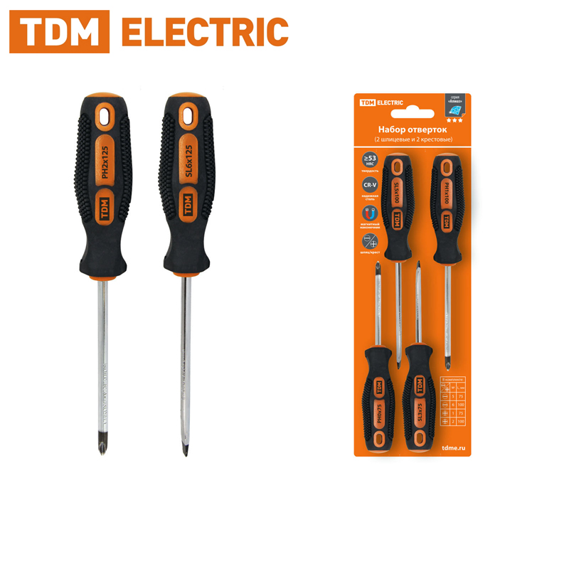 Screwdriver Set 4 PCs: SL5х75, SL6х100, PH1х75, PH2х100 (blister card), CR-V Diamond TDM SQ1013-0201 dropper internal equalizing pressure gardena 2l h 10 pcs in blister home