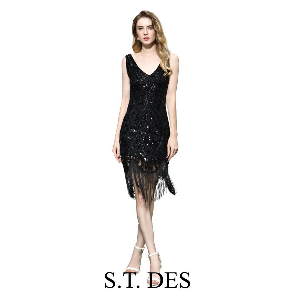 NEW 2020 St.Des Black V-neck Tassels Sequins Vintage Brilliant Elegant Sexy Cocktail Dress Evening Dress