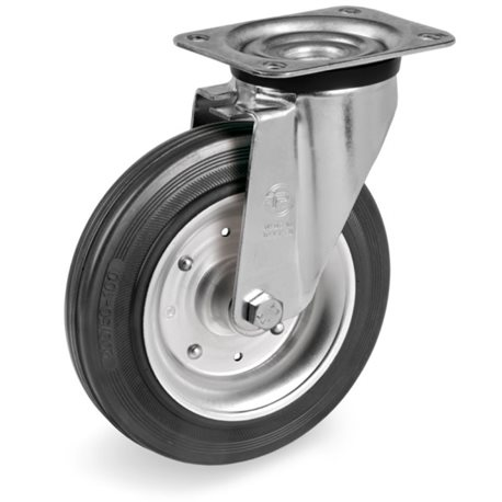 ROTATING WHEEL 125X37, 5MM 535003 PL.100X085 130 KG. SMOOTH RUBBER NE YOU