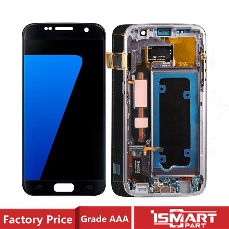 AMOLED <font><b>LCD</b></font> For <font><b>Samsung</b></font> <font><b>Galaxy</b></font> <font><b>S7</b></font> Display Screen Touch <font><b>With</b></font> <font><b>Frame</b></font> Fully Assembly G930 G930F G930A SM-G930F Replacement image