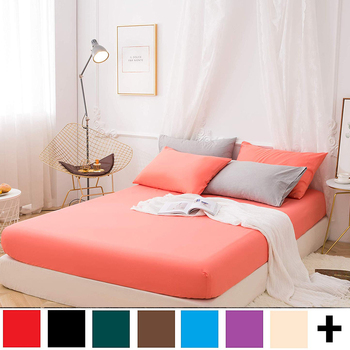 1 pcs Solid Mattress Cover Bed Sheet with Rubber Band Four Corners with Elastic Fitted Sheet Single Double Queen King Size solid fitted dress with choker