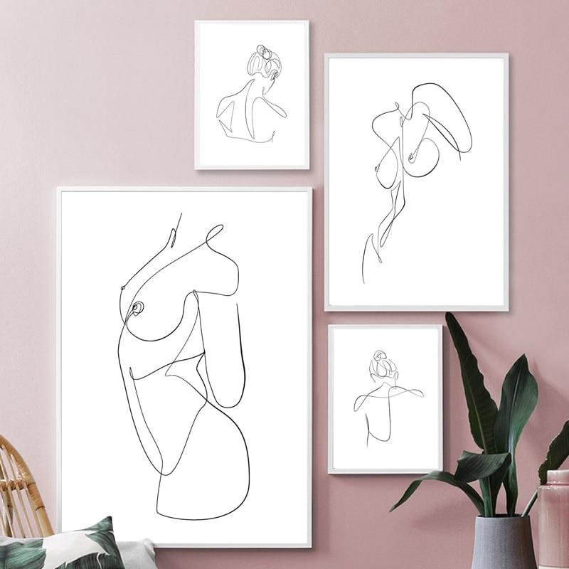 Female Line Drawing Print Home Decor