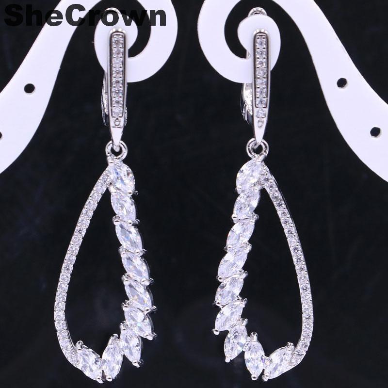 Gorgeous Long Drop Golden Citrine, White CZ Womans Engagement 925 Silver Earrings 55x23mm