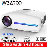 WZATCO C2 1920*1080P Full HD LED Proyector con 4D Digital Keystone 6800 lúmenes hogar teatro portátil HDMI Proyector de LED