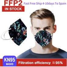 Masques respirants pour femmes et hommes, Design 3D, fleurs noires, 5 couches, kn95, 100