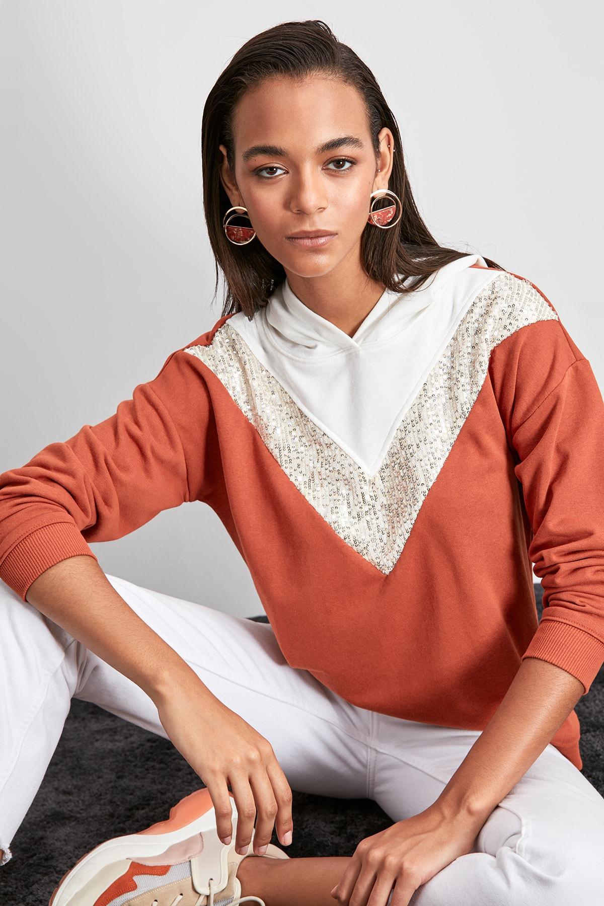 Trendyol Sequined Knitted Sweatshirt TWOAW20SW0586