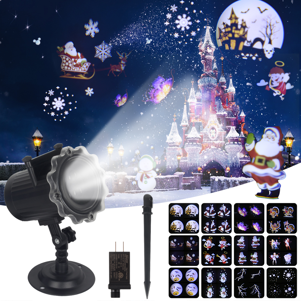 Remote Control Christmas Laser Projector Indoor Outdoor 12 Patterns Animation Effect Snowflake Snowman Christmas Projector Light