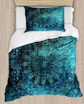 Anderes Grün Schwarz Ottomane Ethnische Anatolien 4 Stück 3D Druck Baumwolle Satin Einzelnen Bettbezug Bettwäsche Set Kissen Fall Bett blatt|Bettbezug|   -