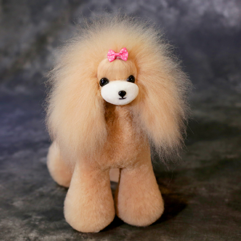 Grooming Model Dog Wig Fake Dog Hair For Groomer Trimming Practice Teady Bear Coat In Champagne