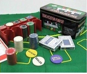 Juego de Poker 200 Fichas con Caja + 2 Juego de Barajas + Ficha Dealer + Tapete