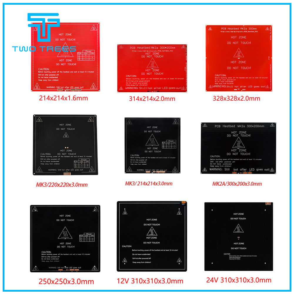 Mk3 히트 베드 더 많은 220x220/300x200/310x310mm 12 v/24 v 3d 프린터 부품 impressora 용 알루미늄 가열 침대 핫 베드 업그레이드