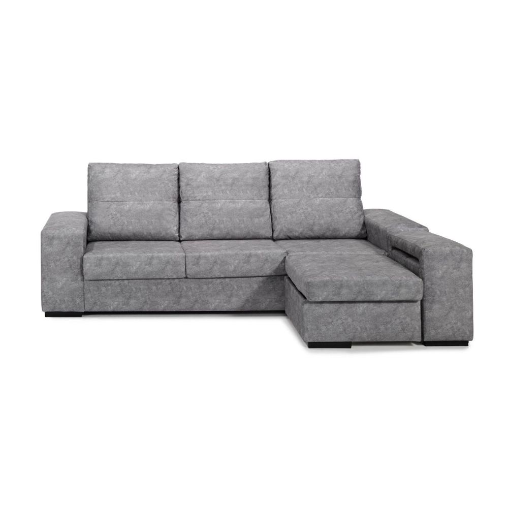 Sofa Chaise Longue, 3 Seater, Color Grey, ref-90