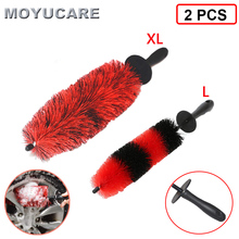 2PCS Car Wheel Wash Brush 18Inch Long Soft Bristle Tire Rim Cleaning Brush With Handle For Engine Exhaust Tips Grills Motorcycle