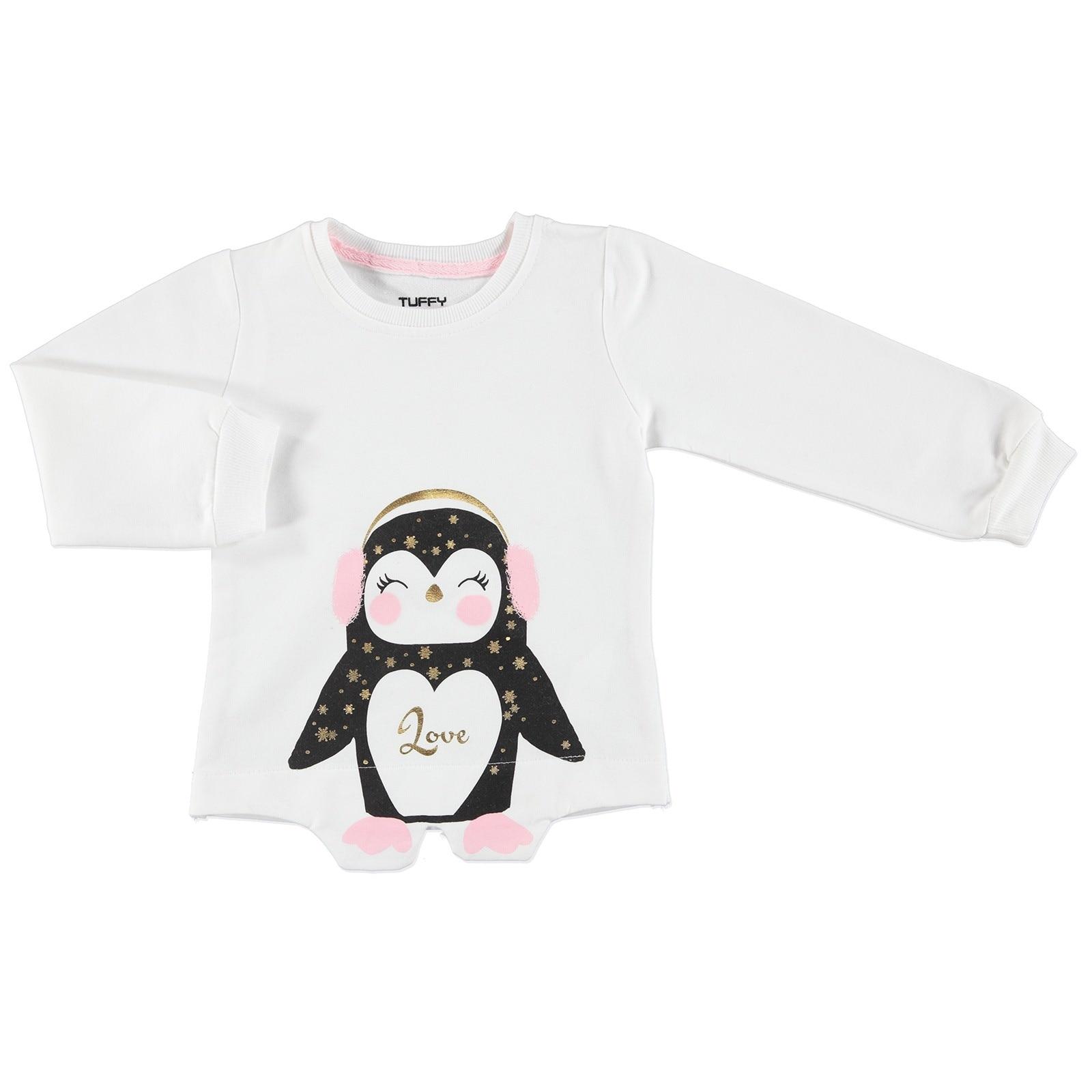 Ebebek Tuffy Chic Penguin Printed Baby Girl Sweatshirt
