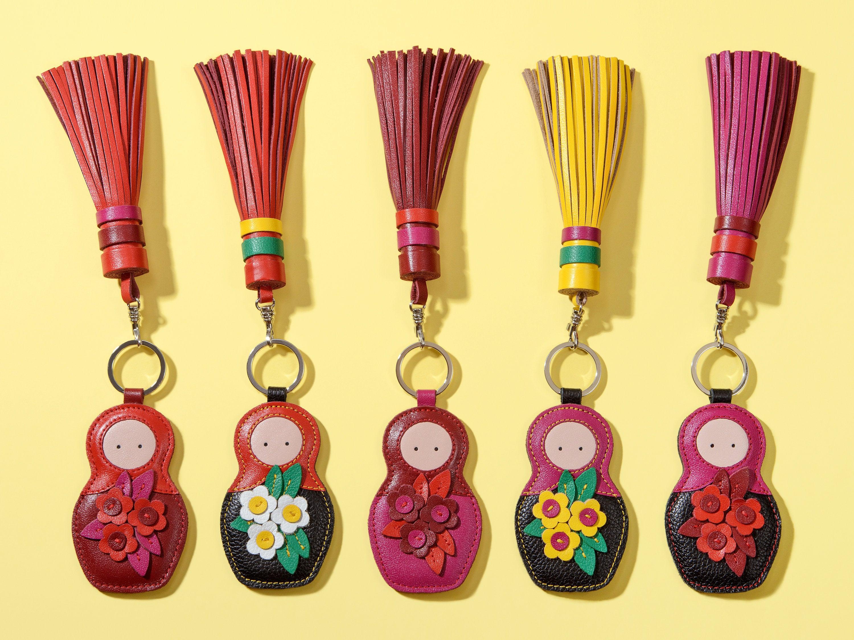 Porte-clés décoration cuir véritable 2 en 1 matryoshka C gland. Porte-clés en cuir pour sac à main, porte-clés pour téléphone/woodsurf