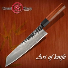Японские кухонные ножи ручной работы, 3 слоя, AUS 10, нержавеющая сталь, 9 дюймов, Kiritsuke лезвие, нарезка рыбы, мяса, кухонные инструменты для повара PRO