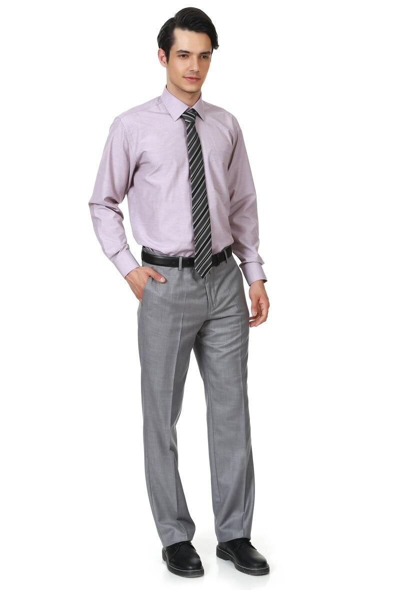 Varetta Regular Gray Flat Pockets Zipper fly full length Fabric Men Pants Poliviscon Mid Waist Type For Solid Long Pants